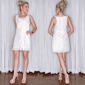White Contemporary Dress with Ruffles Down Front